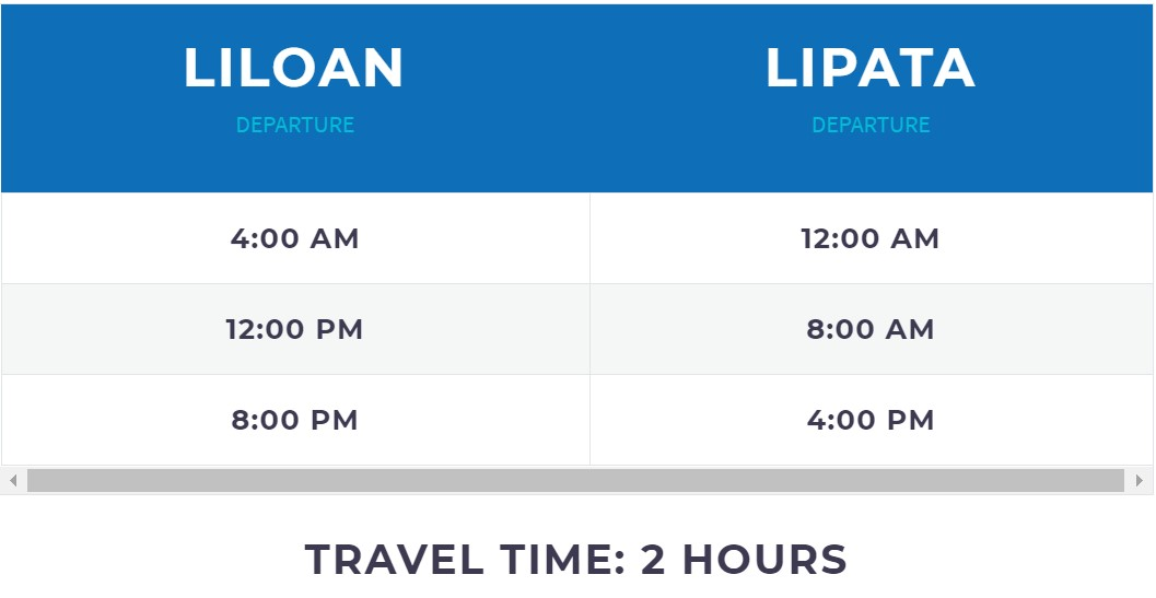 FastCat Liloan-Lipata Schedule and Travel Time
