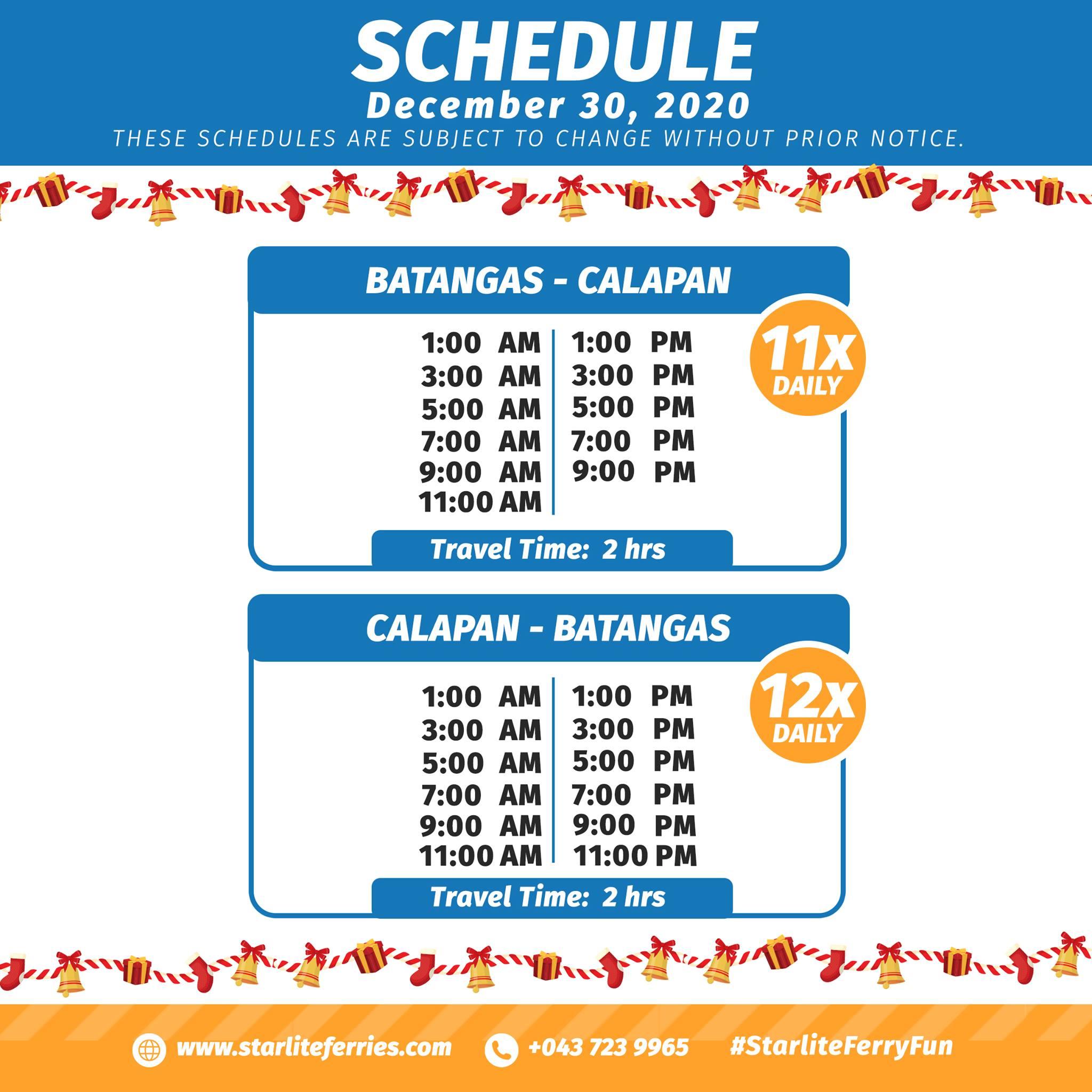 Starlite Ferries Batangas-Calapan Ferry Schedule