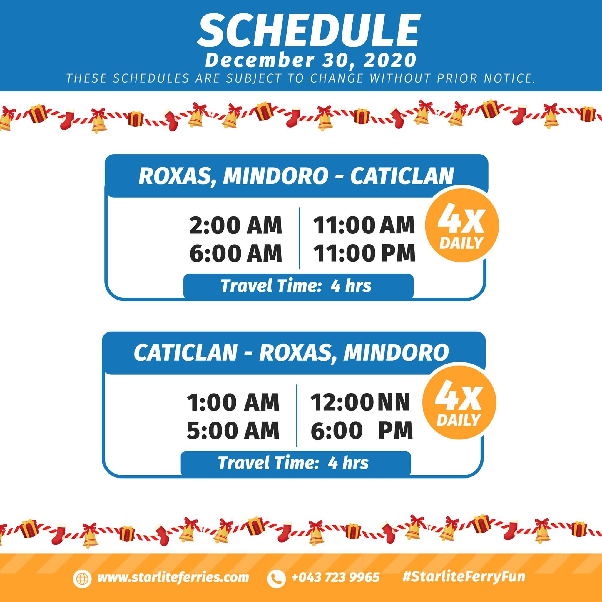 Starlite Ferries Roxas-Caticlan Ferry Schedule