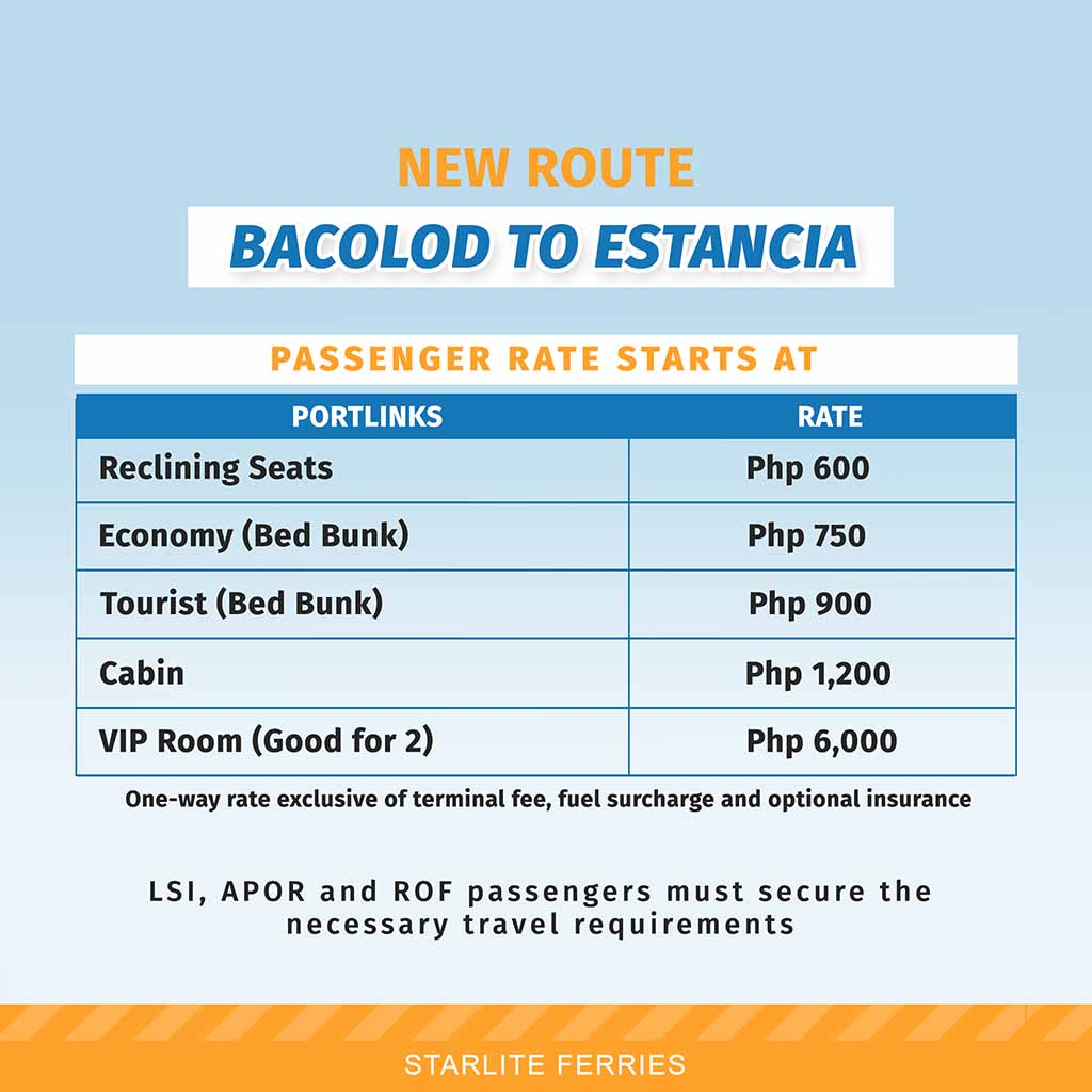 Starlite Ferries Bacolod-Estancia Fare Rates