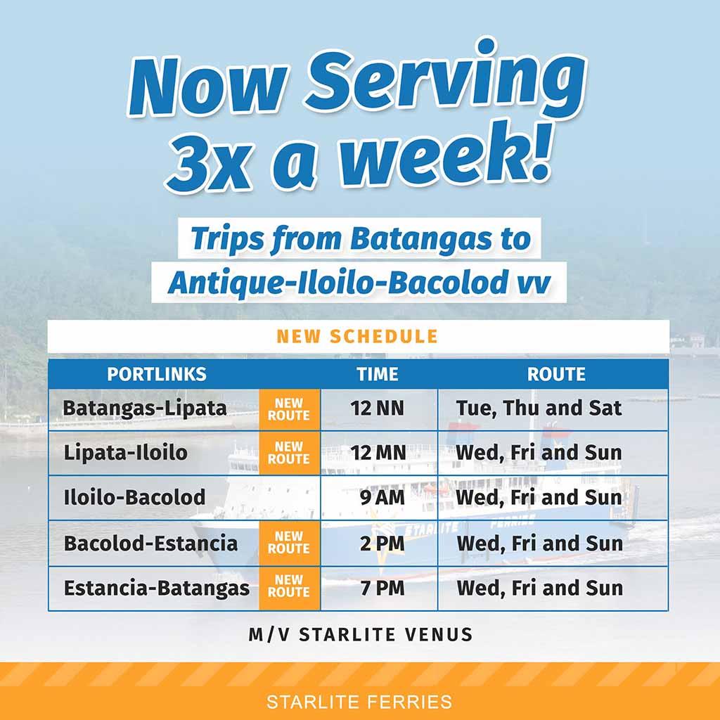 Batangas-Antique-Iloilo-Bacolod Ferry Schedule