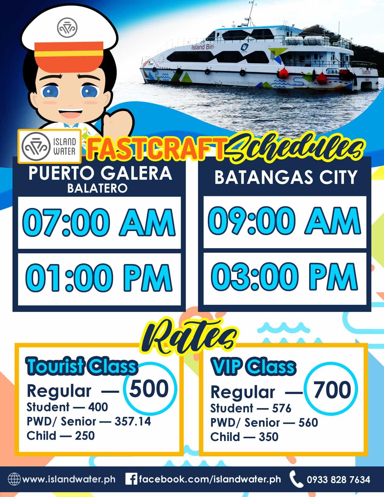 Island Water Batangas-Balatero, Puerto Galera Schedule and Fares