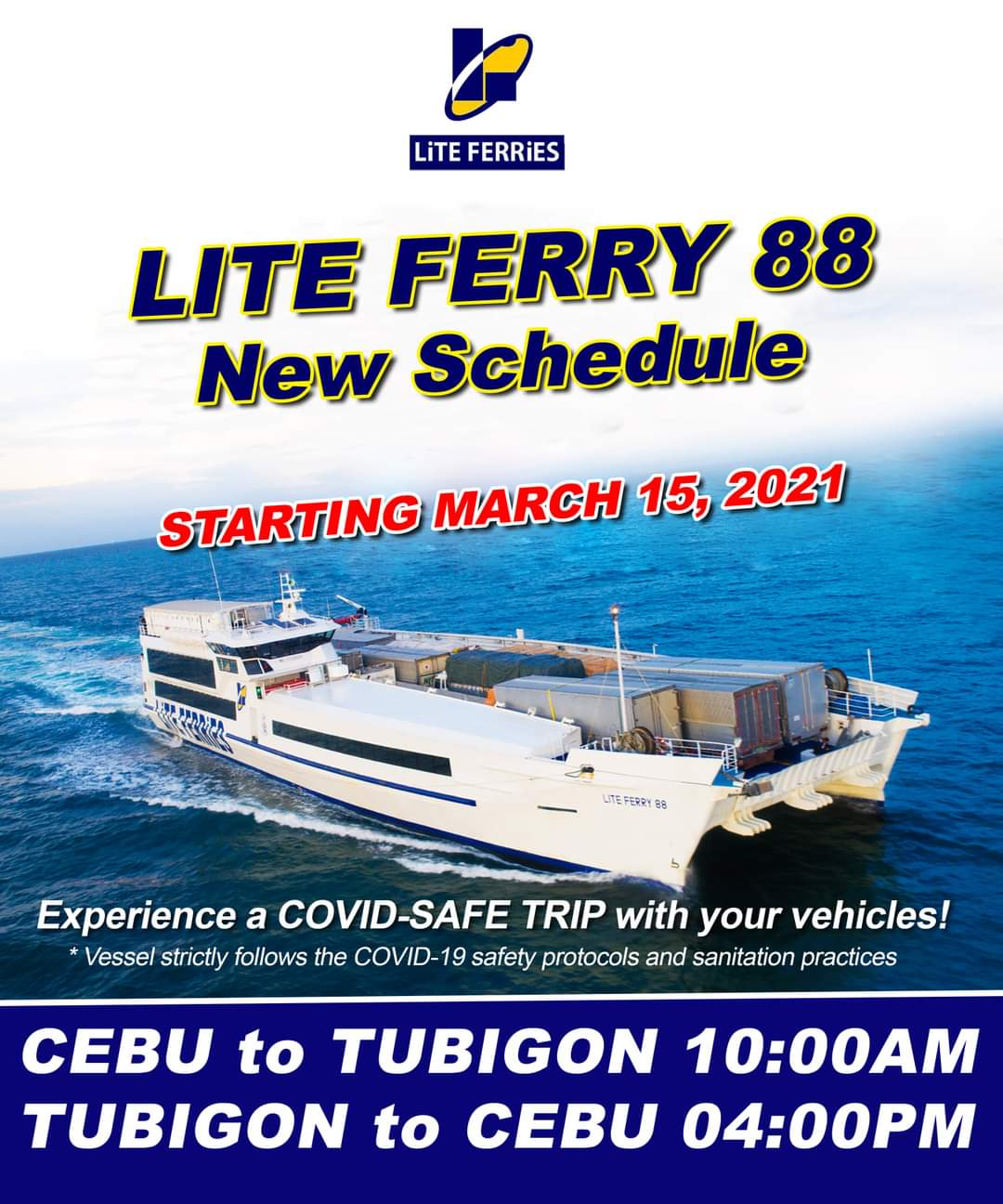 Lite Ferries Cebu-Tubigon Ferry Schedule