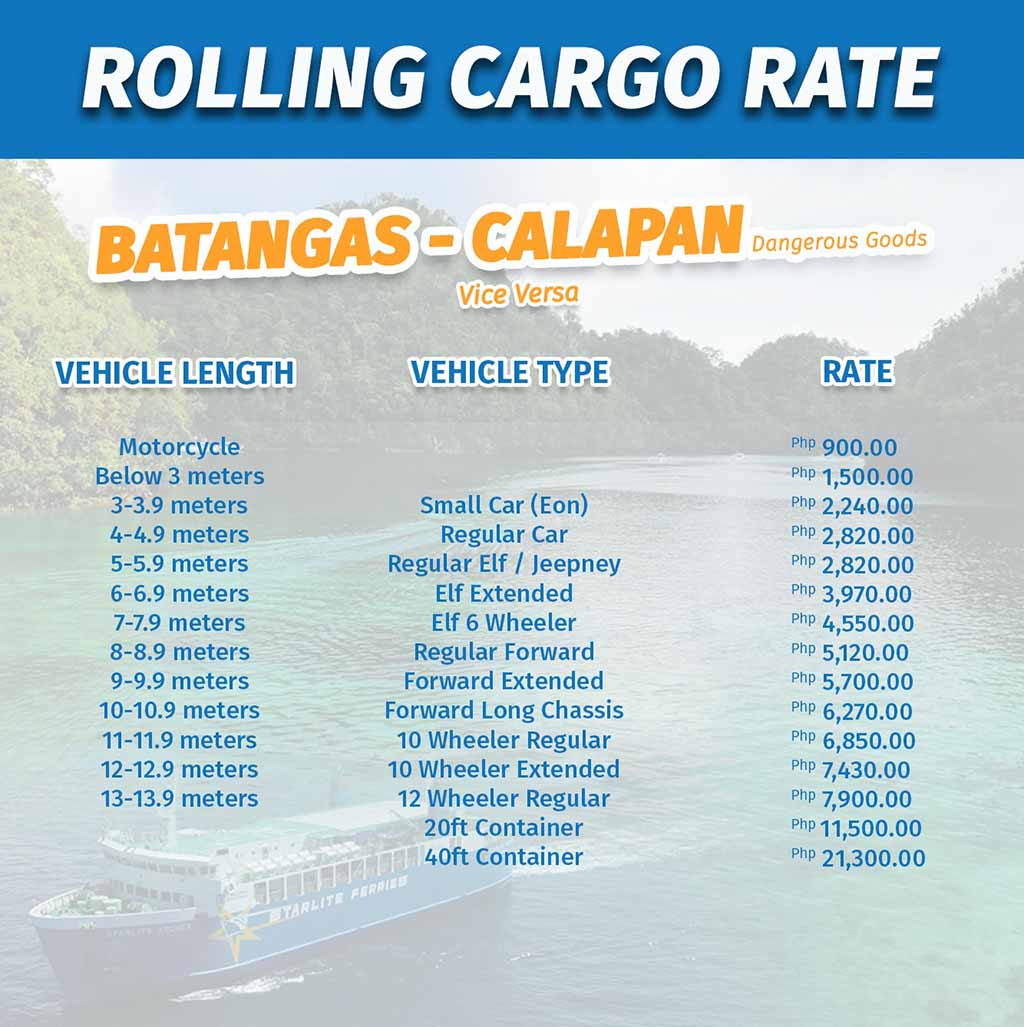 Batangas-Calapan Rolling Cargo Vehicle Rates
