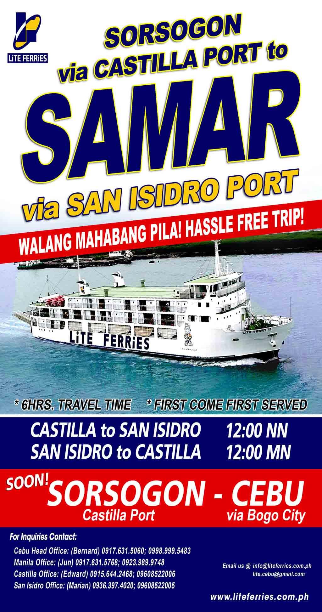 Lite ferries Sorsogon-Samar Schedule